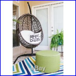 Island Bay Resin Wicker Hanging Egg Chair with Cushion and Stand