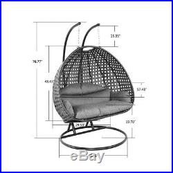 Island Gale 2Person Rattan Outdoor Wicker Hanging Swing Chair withFree Cover&Stand