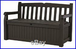 Keter 70 Gallon All Weather Outdoor Patio Storage Garden Bench Deck Box, Brown