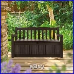 Keter Eden 70 Gal All Weather Outdoor Patio Storage Bench Deck Box Brown New