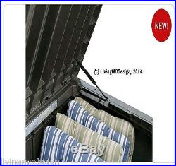 Keter Rockwood 150 Gallon Patio Storage Bench Weatherproof Deck Box
