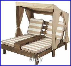 Kidkraft Double Chaise Lounger with Cup holders Kids Outdoor Sun Chair Canopy