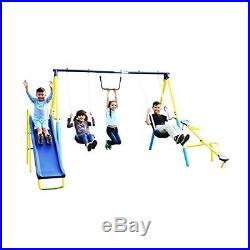 Kids Outdoor Swing Set Backyard Playground Slide Family Fun Adjustable Metal New