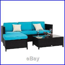 Kinbor 5PCs PE Rattan Wicker Patio Sofa Furniture Set Outdoor Garden with Cushions