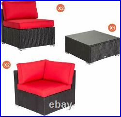 Kinsunny 4PCs Rattan Patio Wicker Sofa Set Sectional PE Outdoor Furniture Garden