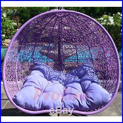 LAVENDER Egg Shape Wicker Rattan Swing Chair Hanging Hammock 2 Person