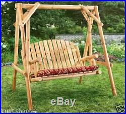 Log Swing Yard Patio Porch Garden Wooden Bench Deck Chair Outdoor Furniture