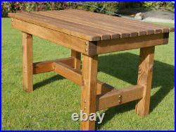 Long Wooden Garden Coffee Table Outdoor Patio Set Rustic Wood Rectangular Large