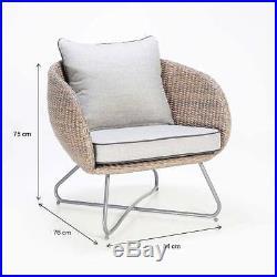 Lounge Set Loungeset Rundgeflecht Sitzgruppe Sessel Gartengarnitur inkl. Kissen