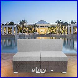 Loveseat 2 PCs Patio Furniture Set Wicker Rattan Armless Sofa Chairs Outdoor