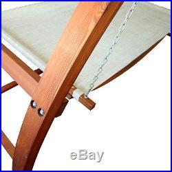 Luxury Canopy Swing Outdoor Bed Hammock Patio Backyard Wood Furniture Adjustable