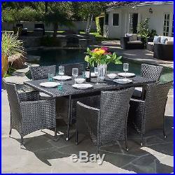 Macalla Grey PE Wicker 7-Piece Outdoor Dining Set