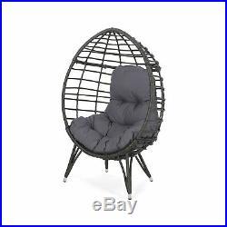 Maylee Outdoor Wicker Teardrop Chair with Cushion