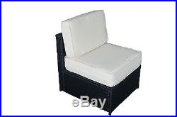 Mcombo 7 PC Cozy Outdoor Garden Patio Rattan Wicker Furniture Sectional Sofa