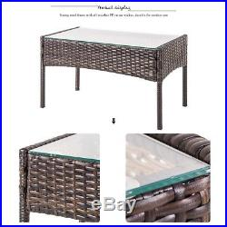 Merax 4 PC Outdoor Garden Rattan Patio Furniture Set Cushioned Seat Wicker Sofa