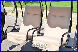 Metal Outdoor Porch Swing 2 Person Garden Bench Modern Patio Furniture