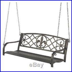 Metal Porch Swing 4 Foot Classic Patio Antique Bronze Fleur De Lis Cast Iron New