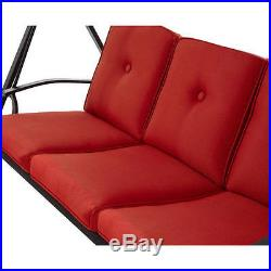 Metal Porch Swing Bed WithCanopy Outdoor Patio Rocker Hammock Garden Furniture Red