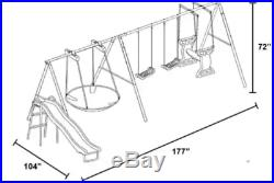 Metal Swing Set Slide Glider Flying Saucer Fun Back Yard Play All Weather Resist