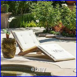 Midori Mahogany Wood Folding Chaise Lounger Chair with Cream Cushion