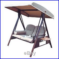 Modern Outdoor Furniture 2 Person Patio Porch Swing Hammock Steel Tilt Canopy