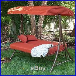 NEW 550 lb. Weight capacity Outdoor 3 Person Canopy Swing Bed Deck Patio Porch