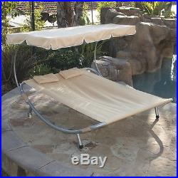 NEW Hammock Bed Lounger Double Chair Pool Chaise Lounge with Canopy Patio Deck