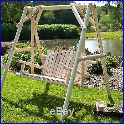 NEW Solid Fir Wood Porch Swing A Frame Outdoor Patio Deck