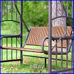 Natural Brown Resin Wicker Gazebo Canopy Porch Swing Glider Loveseat SHIPS FREE
