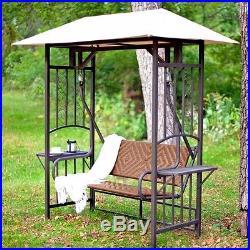 Natural Brown Resin Wicker Gazebo Canopy Porch Swing Glider Loveseat-Ships Free