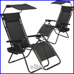 New 2 PCS Zero Gravity Chair Lounge Patio Chairs with canopy Cup Holder HO20