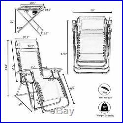 New 3PC Zero Gravity Beach Recliner Chair Fold Adjustable Patio Garden Lounge US