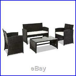 New 4PC Outdoor Patio PE Rattan Wicker Table Set Sofa Furniture with Cushion Black