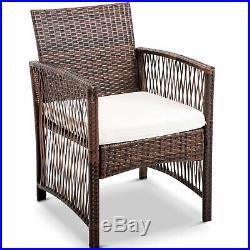 New 4 PCS Outdoor Patio PE Rattan Wicker Table Set Sofa Cushioned Set Furniture