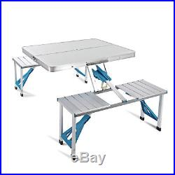 New Aluminum Folding Portable Camping Picnic Table 4 Chairs Set Outdoor Suitcase