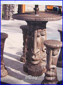 New Concrete, Cement TIKI TABLE SET BAR HEIGHT Table, Pedestal and 4 Stools