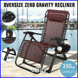 New HeavyDuty Extra Wide Zero Gravity Chair Folding Recliner Lounge Patio Holder