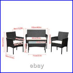 New Patio 4Pcs Rattan Sofa Wicker Cushion Outdoor Coffee Table Garden Gard Black