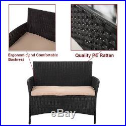 New Patio Wicker Furniture Outdoor 4pc Rattan Sofa Garden Conversation Set