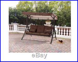 OutDoor Porch Swing With Canopy Patio Hammock 3 Seat Steel Furniture