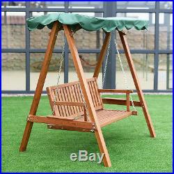 Outdoor 2 Person Larch Wooden Swing Loveseat Hammock Canopy Patio Garden NEW