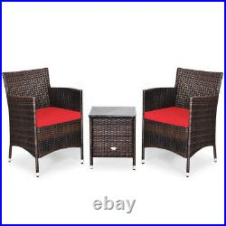 Outdoor 3 PCS PE Rattan Wicker Furniture Sets Chairs Coffee Table Garden Red