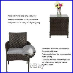 Outdoor 3 Pcs Patio Wicker Furniture Folding Chair Table Set Bistro Set Rattan