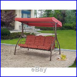 Outdoor 3 Person Swing Canopy Hammock Seat Patio Deck Furniture Steel RED