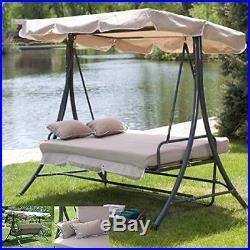 Outdoor 3 Triple Patio Deck Hammock Swing Bed Tan