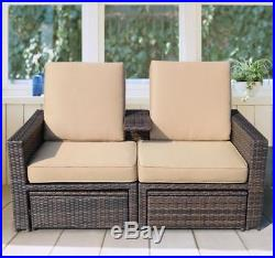 Outdoor 3pc Rattan Wicker Sofa Patio Furniture Lounge Set Chaise Loveseat Daybed