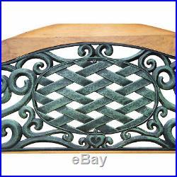 Outdoor 50 Patio Porch Deck Hardwood Cast Iron Garden Bench Chair Love Seat