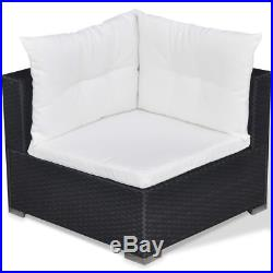Outdoor 5PC Furniture Sectional PE Wicker Patio Rattan Sofa Set Couch Black