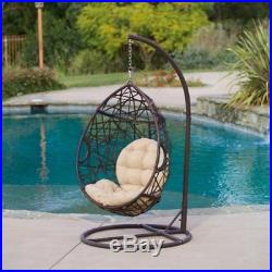 Outdoor Brown Wicker Tear Drop Hanging Chair by Christopher Knight Home