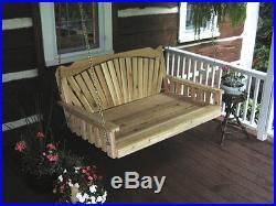 Outdoor Cedar 4 ft FANBACK SWING BED Unfinished Cedar Oversize Porch Swing